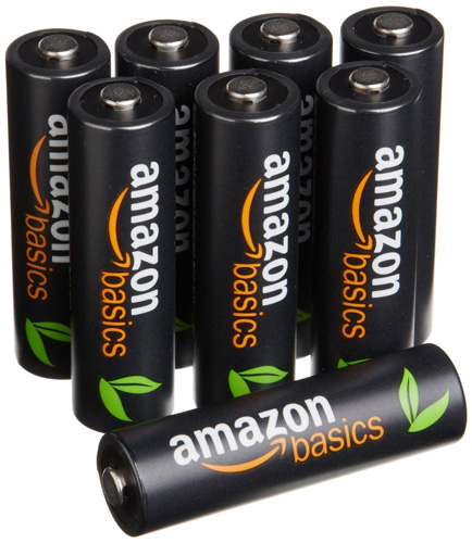 #2. Amazon Basics AA High-Capacity Rechargeable Batteries (8-Pack) Pre-charged