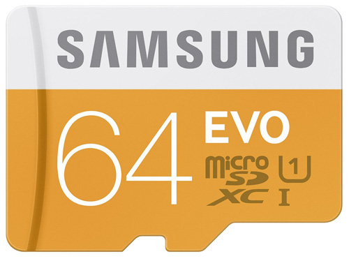 #2. Samsung 64GB EVO Class 10 Micro SDXC Card with Adapter