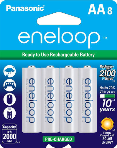 #5. Panasonic BK-3MCCA8BA Eneloop AA 2100 Cycle Ni-MH Pre-Charged Rechargeable Batteries (Pack of 8)