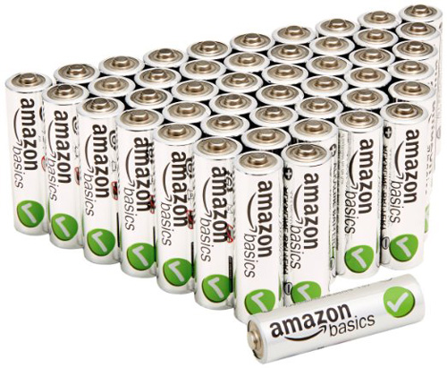 #1. Amazon Basics AA Performance Alkaline Batteries (48-Pack)