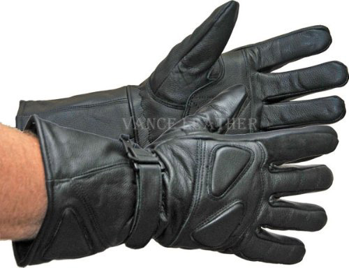 #3. Vance Leather All Leather Premium Padded Gauntlet Snowmobile Gloves
