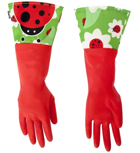#4. Vigar Red Latex Gloves with Extended Ladybug Motif Cuff