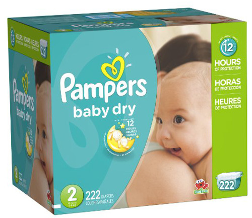#5. Pampers Baby Dry Diapers Economy Pack Plus, Size 2, 222 Count