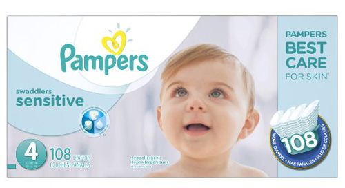 2. Pampers Swaddlers Sensitive Diapers Size 4 108 Count