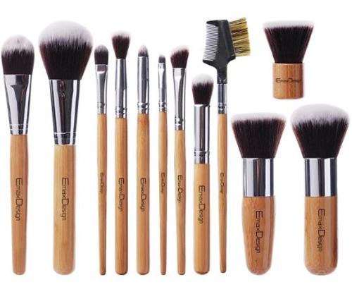 #4. EmaxDesign 12 Pieces Makeup Brush Set Professional Bamboo Handle Premium Synthetic Kabuki