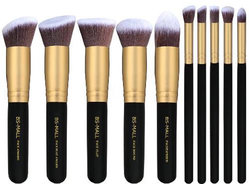 #2. BS-MALL(TM) Premium Synthetic Kabuki Makeup Brush Set (10pcs, Golden Black)