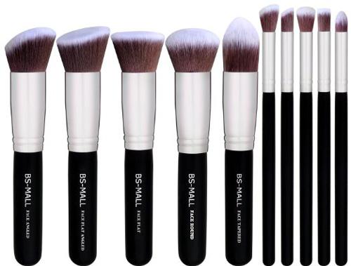#1. BS-MALL(TM) Premium Synthetic Kabuki Makeup Brush Set(10pcs, Silver Black)