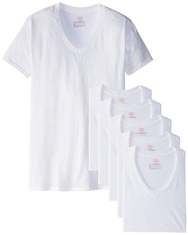 #1.Hanes Men's Six Pack of V-Neck T-Shirts