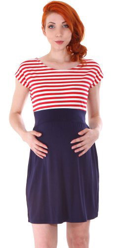 #4.Simplicity Striped Maternity Dress In Flexible Stretch Fit, Contrast Skirt