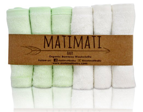 #2. Matimati Bamboo Baby Washcloths (6-pack)