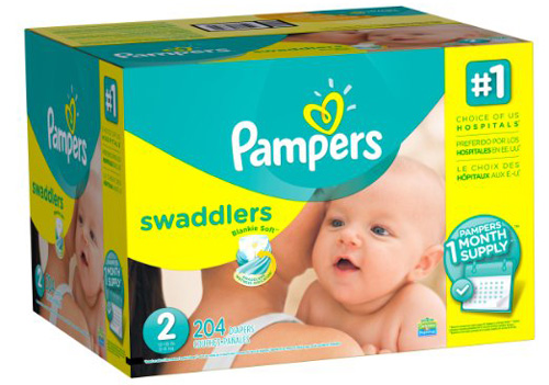 #1. Pampers Swaddlers Diapers, Size 2, One Month Supply, 204 Count
