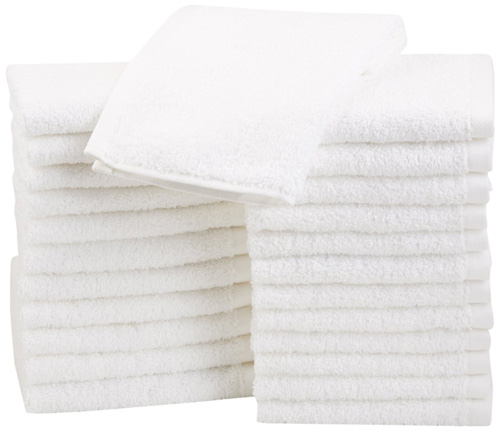 #1. AmazonBasics Cotton Washcloths - 24-Pack White