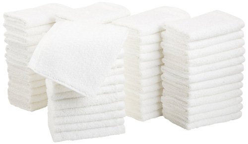 #4. AmazonBasics Cotton Washcloths - 60-Pack