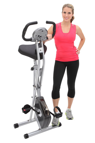 #1. The Exerputic Folding Magnetic Upright Bike With Pulse