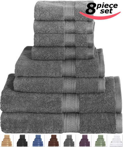 #3. Utopia Cotton Bath Towel Set Grey - 8 Piece