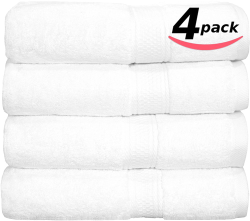 #5. Utopia Premium Hotel & Spa Towels Set White - 4 Pack