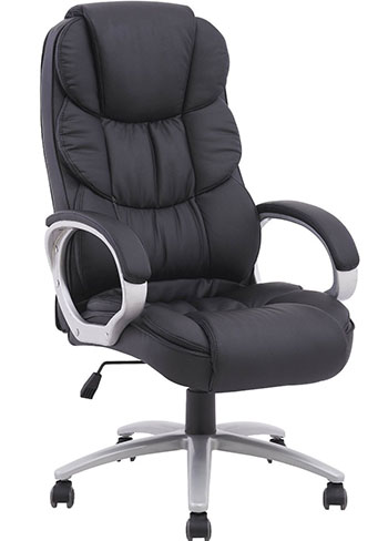 #4.Black Pu Leather High Back Office Chair