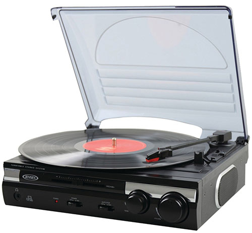 #1. Jensen JTA-230 3 Speed Stereo Turntable with Built-in Speakers