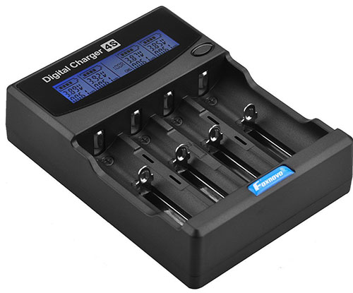 4. Foxnovo F-4S 4-Slots LCD Battery Charger