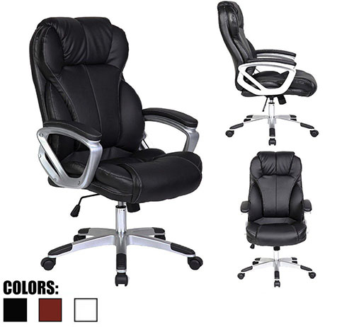 #5.2xhome - Black - Deluxe Professional PU Leather Tall and Big Ergonomic Office High Back Chair