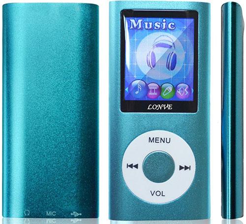#4. Lonve Music Player 16GB, Blue 1.82'' with Screen, FM Radio