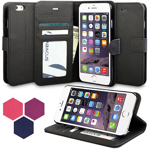 5. iPhone 6 Plus Case, Abacus24-7 Leather Wallet Case and Stand