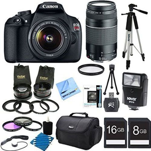 3. Canon EOS Rebel T5 18MP DSLR Camera EFS 18-55mm & EF 75-300mm Four Lens Ultimate Bundle
