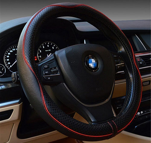 7. Top Leather Steering Wheel Cover
