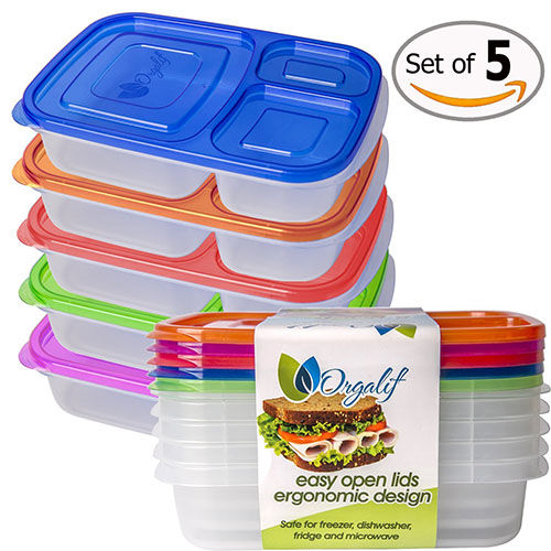 1. Orgalif Bento Lunch Box 3-compartment for Kids