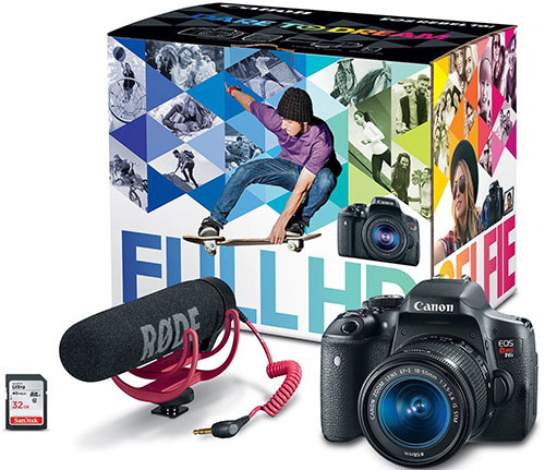 7. Canon EOS Rebel T6i Video Creator Kit with 18-55mm Lens, Rode VIDEOMIC GO and Sandisk 32GB SD Card
