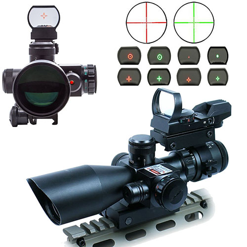 4. AOTOP Tactical Rifle Scope with Red Laser