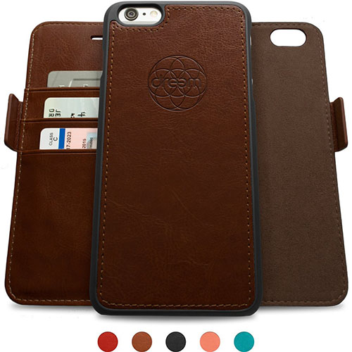 7. Dreem Fibonacci iP6+V4 Wallet Case with Detachable Folio