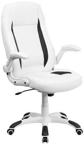 5. High Back White Leather Swivel Office Chair